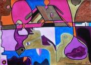 tableau abstrait papier photo brillan multicoloreor abstrait poetique : Vases communicants