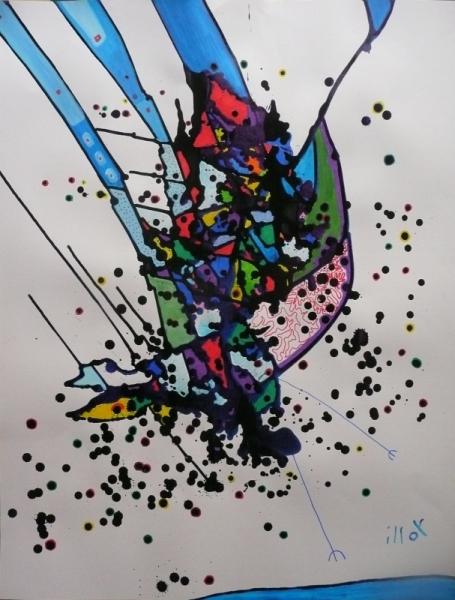 TABLEAU PEINTURE Mouvement Poétique Abstrait Acrylique  - Et tout le bataclan...