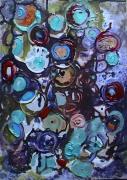tableau abstrait matieres multicolore coulures poetique : Pompons pays