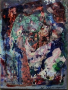tableau abstrait matieres imaginaire visage poetique : Voyageur immobile