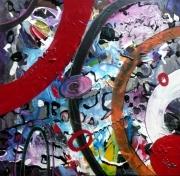 tableau abstrait matiere mouvement poetique : Outremonde