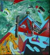 tableau abstrait matiere mouvement poetique : Puech del garric
