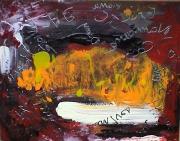 tableau abstrait ecriture jaune rouge paysage poetique : Scénisme