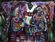 tableau personnages effet vitraille multicolore poetique : Cosmikiss