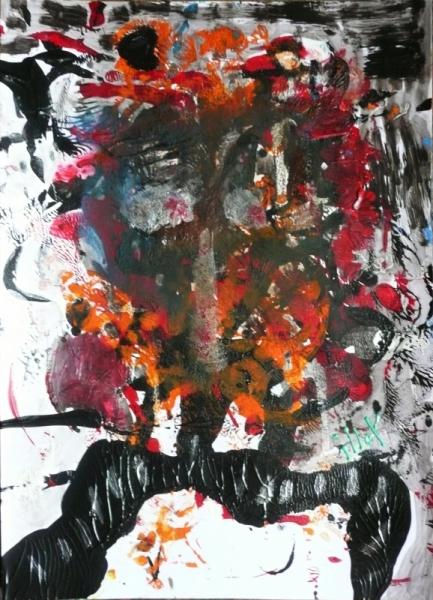 TABLEAU PEINTURE Mouvement Poétique Acrylique  - Roux sillon