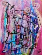 tableau abstrait matiere mouvement poetique : Rose à pic
