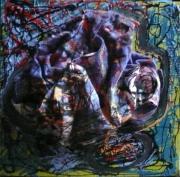 tableau abstrait matiere mouvement poetique : let it blue