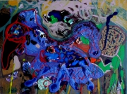 tableau abstrait matieres poetique : Le bleu bidet