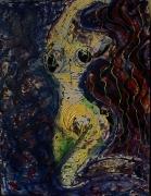 tableau personnages femme jaune reliefs morceaux cartes post poetique : Lady ondulée