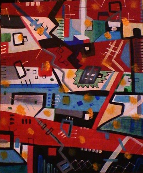 TABLEAU PEINTURE multipositions multicolore multispace poétique Abstrait Acrylique  - Nuit urbaine