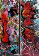 tableau abstrait matiere mouvement poetique : Pivoines