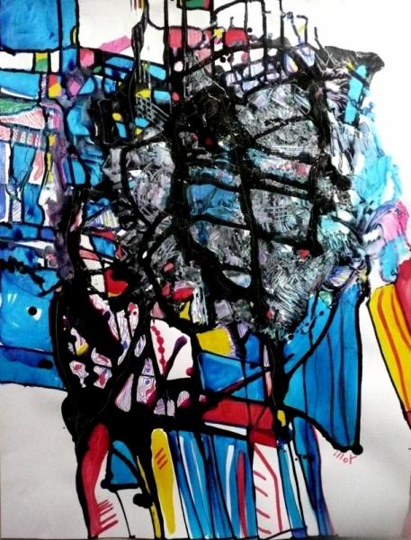 TABLEAU PEINTURE Matière Mouvement Poétique Abstrait Acrylique  - La suggestion de l'arbitraire