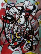 tableau abstrait mouvement poetique : La pieuvre par neuf