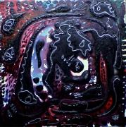 tableau abstrait relief noir poetique : Magie noire