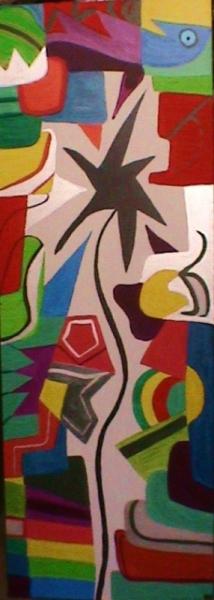 PAINTING fleur multicolore abstrait géométrique Abstrait Acrylique  - Soliflore