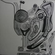 tableau abstrait graphisme mouvement poetique : Gribouillin