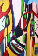 """tableau abstrait abstrait multicolore graphique imaginaire : Urbanologie/Verso """"Icare rouge"""""""