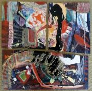 tableau abstrait matiere mouvement poetique : Des ailes pis po de racines