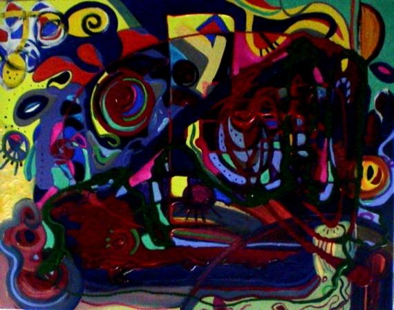 TABLEAU PEINTURE Mouvement Matière Poétique Abstrait Acrylique  - Le carnaval des échos sourds