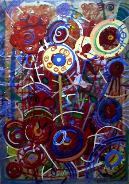 TABLEAU PEINTURE Mouvement Transparence Poétique Abstrait Acrylique  - Parterre effleuré