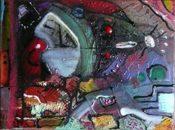 TABLEAU PEINTURE Matière Mouvement Poétique Abstrait Acrylique  - Jonas