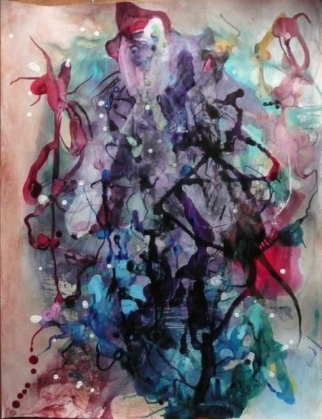 TABLEAU PEINTURE Mouvement Poétique Abstrait Acrylique  - Mon paletot aussi devenait idéal