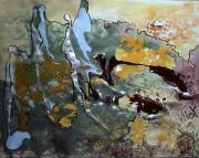 tableau abstrait argente matieres poetique : Les cimes seules