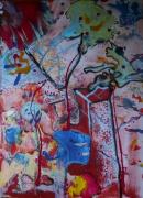 tableau abstrait matiere mouvement poetique : La flaque sous le châtaignier