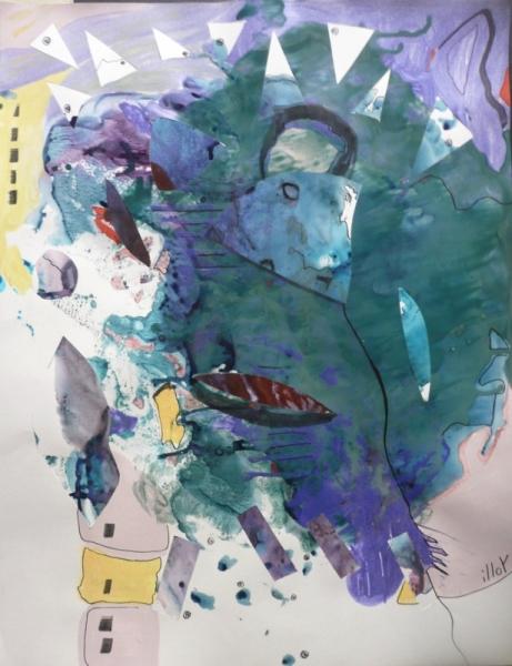TABLEAU PEINTURE Matière Mouvement Poétique Abstrait Acrylique  - Un zeste d'orage