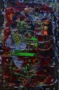 tableau abstrait oiseau relief multicolore poetique : Zozio