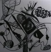 tableau abstrait graphisme mouvement poetique : Gribouillois