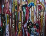 tableau abstrait mouvement poetique : Golden jail