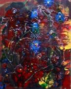 tableau fleurs couleurs primaires reliefs mouvement poetique : L'étang rouge