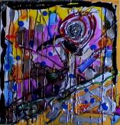 tableau abstrait tete d oiseau argent relief poetique : Prison bird