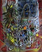 tableau abstrait explosion couleurs fenetre matieres poetique : Hier soir encore...
