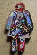 tableau personnages personnage fille abstrait multicolore deco : TiDam