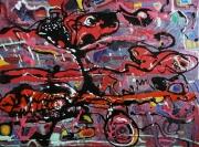 tableau abstrait matiere mouvement poetique : A bicyclette