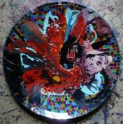 autres abstrait deco matiere ,a suspendre ,a poser : La peinture est dans le plat
