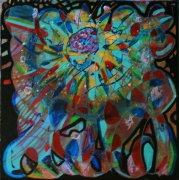 tableau abstrait facon vitrail multicolore reliefs poetique : Soleil de nuit