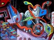 tableau abstrait mouvement poetique : Aux aguets