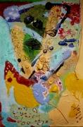 tableau abstrait matiere mouvement poetique : Les oeufs d'or