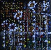 tableau abstrait relief points poetique : Rideau de nuit
