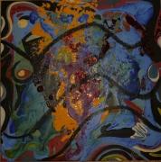 tableau abstrait matiere mouvement poetique : Balade pour une escarboucle bleue