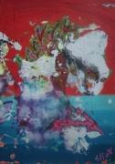 tableau abstrait matiere mouvement poetique : Besando el océano