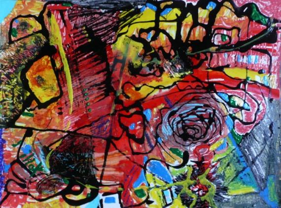 TABLEAU PEINTURE Matière Mouvement Poétique Abstrait Acrylique  - Echo d'orange