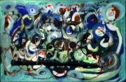 tableau abstrait bleu vert iridescent cercles yeux poetique : Manifestement