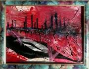 tableau abstrait matiere poetique : Echouement rouge