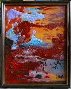 tableau abstrait matiere poetique : Savane glacée