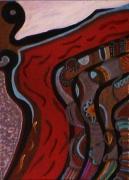 tableau abstrait or argent rouge femme motifs graphiques mouvement : Orient express