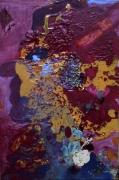 tableau abstrait matieres poetique : Cheveux rubis